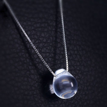womens tear shape crystal pendant sterling silver necklace + gift box