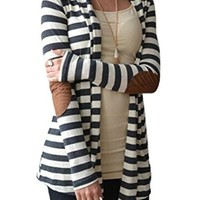 Women's Slim Black and white Stripes Long Sleeve Cardigan Sweaters