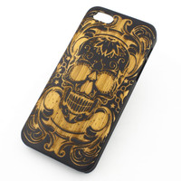 Black Bamboo Wood Case - Maniac Sugar Skull