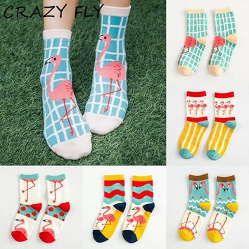 CRAZY FLY Funny Art Animal Women Socks Cute Novelty 3d Ankle Cotton Cartoon Socks Warm Stripe Flamingo Pattern Happy Socks