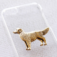 Golden Retriever Apple iPhone 5C Clear Hard Shell Snap On Cell Protector with Gold iPhone 6 Case