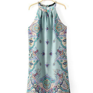 Green Perris Pattern Print Halter Neck Mini A-line Dress