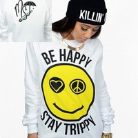 Be Happy Stay Trippy Crewneck - Womens - Umbrella - Brands - Paper Alligator