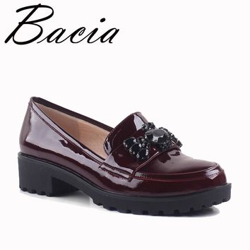 Bacia Wine Red Full Grain Leather Flats Bear String Bead Patent Genuine Leather Shoes