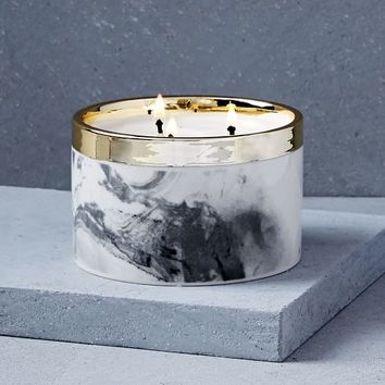 Vignette Candle, Low Marbled, Bergamot Woods