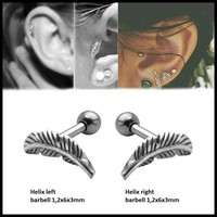 Pair 316l Surgical Steel Feather Cartilage Helix Barbell Bar Ear Stud Piercing Earring Jewelry For Sexy Girls Fashion 16g
