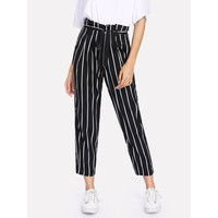 Black And White High Waist Striped Tapered Carrot Crop Pant