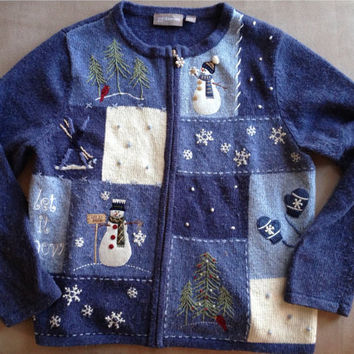 Ugly Christmas Sweater / Women's Vintage 90s Christmas Sweater / Size Small