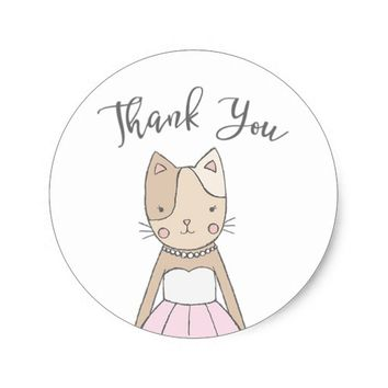 Cute and Whimsical Kitty Thank You Classic Round Sticker