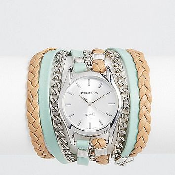 wrap watch in mint and silvertone | maurices