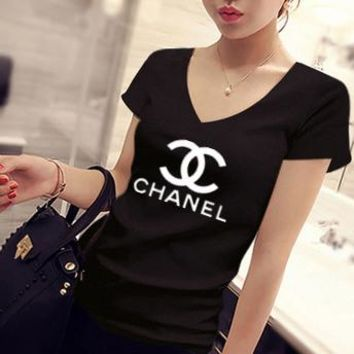 """Chanel"" Women Simple Casual Letter Logo Print V-Neck Short Sleeve Bodycon T-shirt Top Tee"