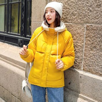 2019 Fashion Short Winter Jacket Women Slim Female Coat Thicken Parka Cotton Hooded  Candy-colored Ladies Jacket
