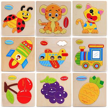 Colorful Kid Wooden Animals Cartoon Picture Puzzle Kids Baby Educational Toys Children Brain Train Early Development Toys