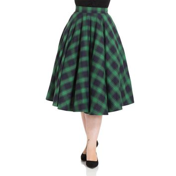 Marienne Green Plaid Full Circle Skirt