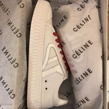 2018 spring Celine small white shoes wild casual wind small fresh color matching canvas shoes student flat shoes White red