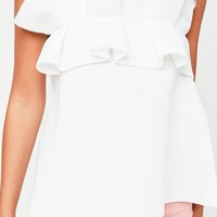 Missguided - White Gathered Strapless Bandeau Top