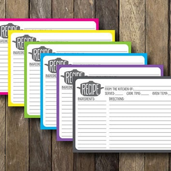Printable 5x7 Recipe Cards - Instant Download - Colorful Recipe Cards - Printable Recipe Cards - Colorful Kitchen Decor - Recipe Card Set
