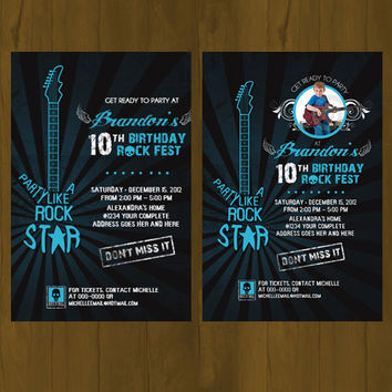 Turquoise Rock Star Invitation - Blue Green Rockstar Party Printable Birthday Invitation - Electric Guitar Rock Concert Poster Invitation