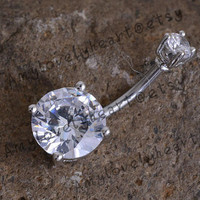 Austria Diamond Belly Button Ring ,316L  Belly Ring ,Two Zircon Button Ring, Belly Button Ring,Belly Button Piercing