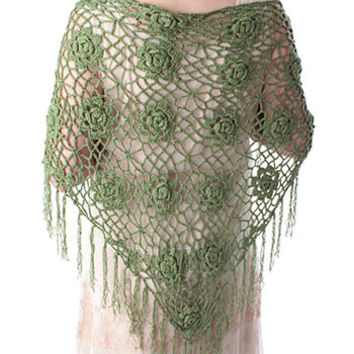 Green Floral Crochet Triangle Fringed Shawl Wrap