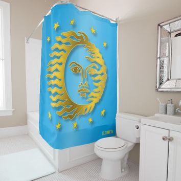 Golden Embossed Sun With Stars And Shadows Shower Curtain