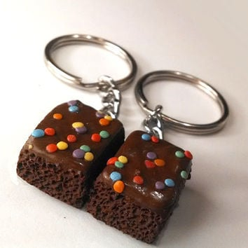 Brownie Halves Key Chains, Polymer Clay Food Accessories, Best Friends BFF