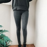 SANDRA LIGHT ACID WASH LEGGINGS- GREY