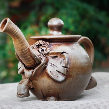Ceramic Teapot. Animal Clay Tea Pot Handmade. Elephant Pottery Teapot. Unique Housewarming Gift Ideas By Three Snails. Free Shipping!