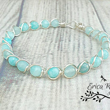 Aquamarine gemstone bangle bracelet, birthstone, aquamarine jewelry, blue bracelet, wire wrapped bracelet, wire wrap bracelet, blue bangle