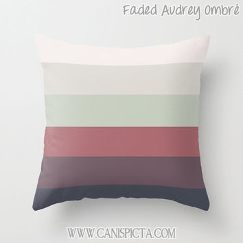 OMBRE Throw Pillow 16x16 Graphic Print Cover Couch Art Home Decor Geometric Purple Taupe Beige Cream Khaki Salmon Pink Lilac Navy Blue Faded