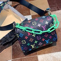 LV simple men's and women's color printed letter chain bag shoulder bag crossbody bag