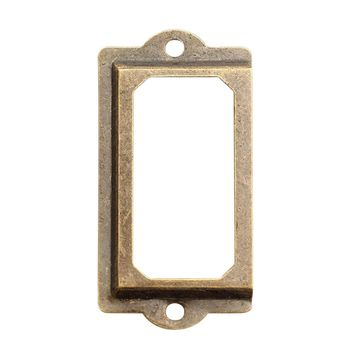 12Pcs Antique Brass Metal Label Pull Frame Handle File Name Card Holder For Furniture Cabinet Drawer Box Case Bin file shelves