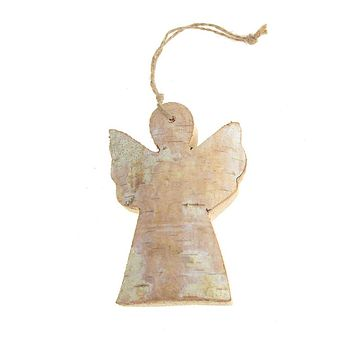Wooden Angel with Birch Christmas Ornament, Natural, 4-Inch