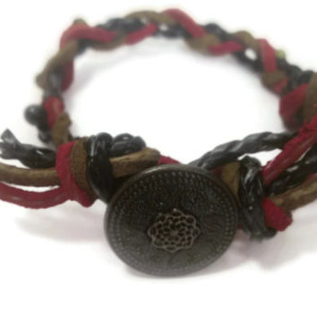 Button Suede Bracelet, Industrial, Summer fashion, Trendy jewelry, Bohemian, Hipster, Stacking Charity