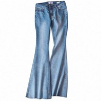 Fashion Bleached Denim Jeans Women Washed Flare Pants Jeans Slim Fitness Mid Waist Street wear Denim Pants