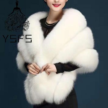 YSFS High Quality Fox Fur Bridal Wedding Jackets Bridal Cape Wraps Boleros Cloak Coat For Wedding Prom Dresses