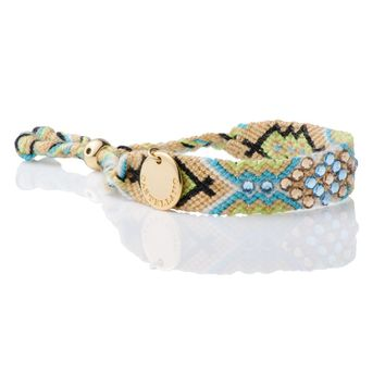 Wayuu Handwoven Double Gold Plated Sustainable & Friendship Bracelet with 100% Swarovski Crystals 05