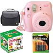 Fujifilm Instax Mini 8 Instant Film Camera (Pink) With Fujifilm Instax Mini 5 Pack Instant Film (50 Shots) + Compact Bag Case + Batteries Top Kit