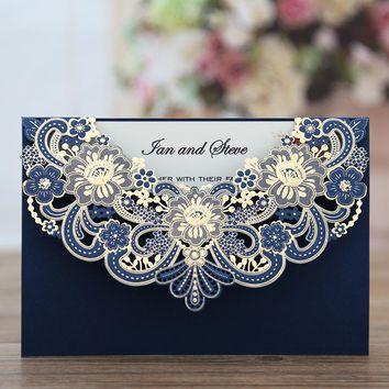 100pcs New Arrival Horizontal Laser Cut Wedding Invitation with Gold Hollow Flora Favors,Customizable,