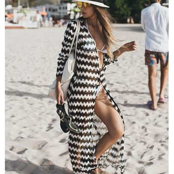 Black & White Stripe Sheer Mesh Net Long Beach Sun Dress Cover Up Resort Wear