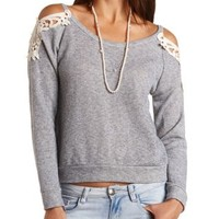 Crochet-Topped Cold Shoulder Sweatshirt - Med Gray Combo