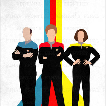 Star Trek Poster, Voyager, The Doctor, Janeway, Torres, Ribbons, Retro Minimalist Poster