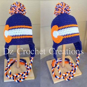 Crochet Denver Broncos Colorado Flag Inspired beanie - Hat Beanie Made to Order Baby Child Teen Adult Crochet Beanie