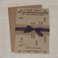 Handmade Rustic Kraft Burlap Wedding Invitation