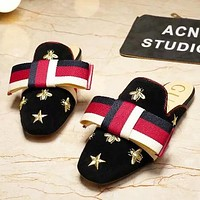 GUCCI Women Fashion New Embroidery Bee Star Stripe Bow Shoes Slippers Black