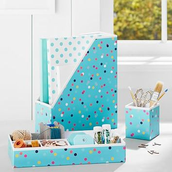 Printed Desk Accessories- Pool Confetti Dots