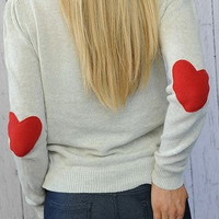 Heart Elbow Patch Sweater I Wear My Heart on My Sleeve Sweater with RED Felt Heart Patches SMALL Valentine's Day