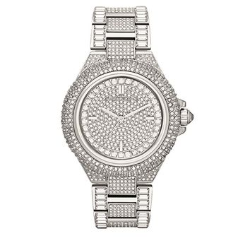 New Michael Kors Camille Silver Pave Dial Crystal Encrusted MK5869 Women's Watch