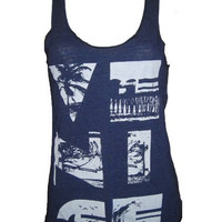 Venice California Collage Art Print Tank Top American Apparel XS S M or L