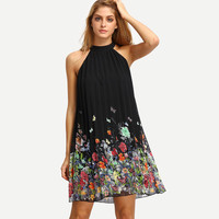 Sleeveless Halter Pleated Loose Dress